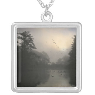 Canada Geese and Morning Fog Silver Plated Necklace