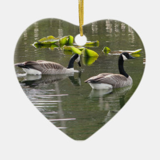 Canada Geese Ceramic Heart Ornament