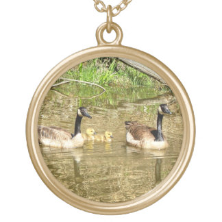 Canada Geese Family Gold Plated Necklace