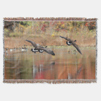 Canada Geese in Flight Throw Blanket
