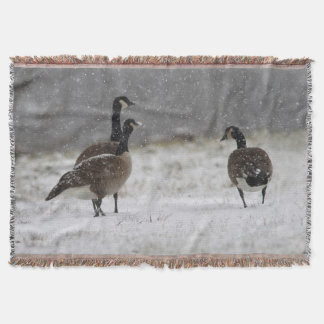 Canada Geese in the snow Throw Blanket
