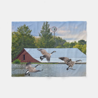 Canada Geese Landing On The Pond Fleece Blanket
