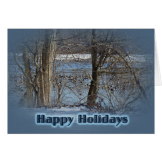 Canada Geese on Green Lane Reservoir Happy Holiday Card