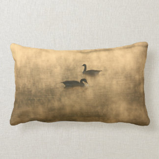 canada geese on the river by sunrise lumbar pillow