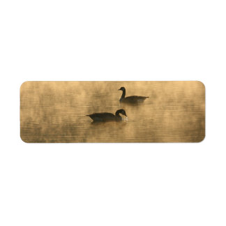 canada geese on the river by sunrise return address label