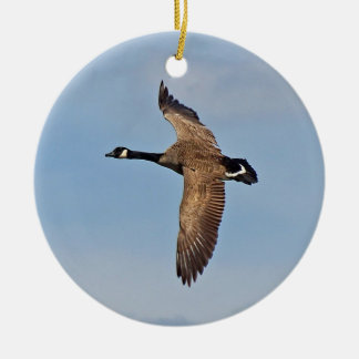 Canada Goose in Flight Ceramic Ornament