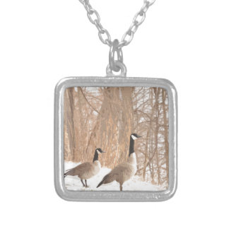 Canada Goose in Snowy Woods Silver Plated Necklace