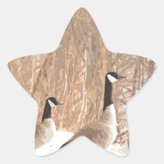 Canada Goose in Snowy Woods Star Sticker