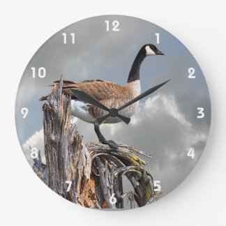 CANADA GOOSE ON A SNAG 2 LARGE CLOCK