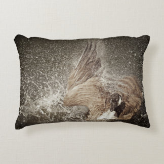Canada Goose Slapping Water Photographic Art Accent Pillow