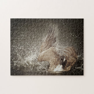 Canada Goose Slapping Water Photographic Art Jigsaw Puzzle