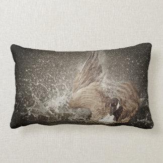 Canada Goose Slapping Water Photographic Art Lumbar Pillow