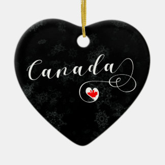 Canada Heart, Christmas Tree Ornament, Canadian Ceramic Ornament