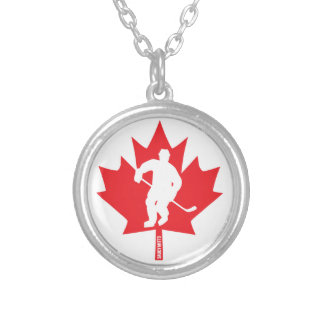 Canada Hockey Maple Leaf Player Silver Plated Necklace