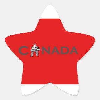 Canada Inuksuk on Red Background Star Sticker