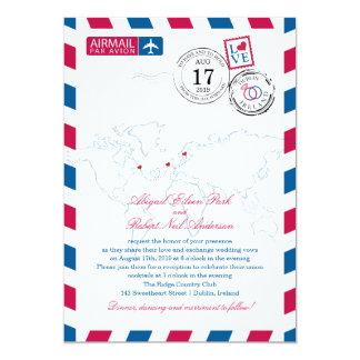 "Canada Ireland Sweden Airmail Heart Wedding 5"" X 7"" Invitation Card"