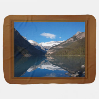 Canada Lake Louise Rocky Mountain Wood Frame Print Baby Blankets