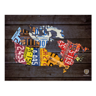 Canada License Plate Map Postcard