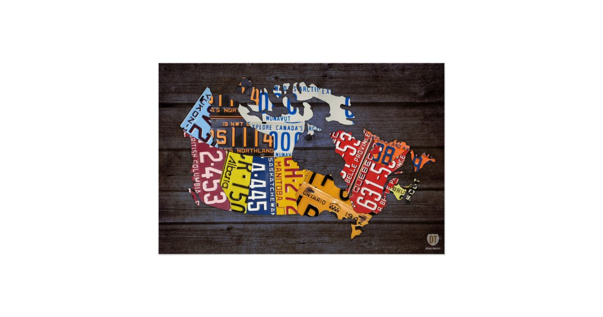 Canada License Plate Map Recycled Art Print Zazzle - Map license plate us