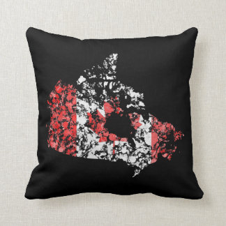 Canada map & flag grunge splatter of paint rustic throw pillow