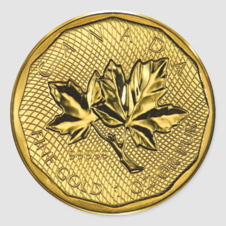 Canada Maple Leaf 1oz Gold (pack of 6/20) Round Sticker