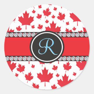 Canada Maple Leaf Abstract Diamond Monogram Round Sticker