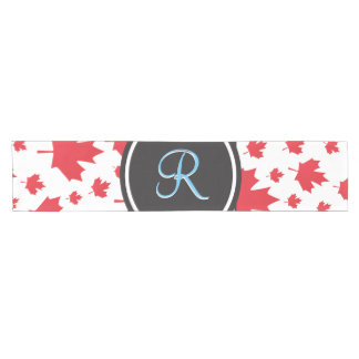Canada Maple Leaf Abstract Diamond Monogram Short Table Runner