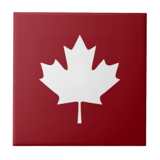Canada Maple Leaf Ceramic Tile - Reverse Colors