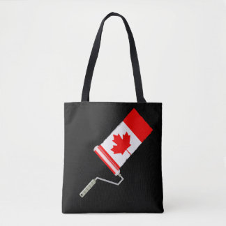 Canada Maple Leaf Flag Paint Roller Tote Bag