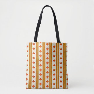 Canada Maple Leaf Gold Stripe Tote Bag