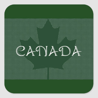 Canada Maple Leaf green, luggage Stickers Square Stickers