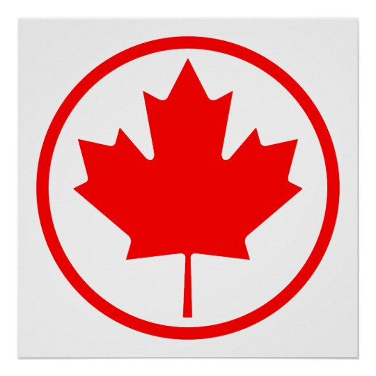 Canada Maple Leaf Inside of a Ring Poster