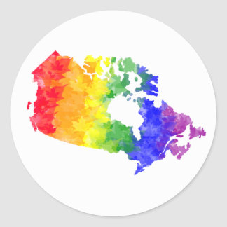 Canada Maple Leaf Rainbow Pride Classic Round Sticker