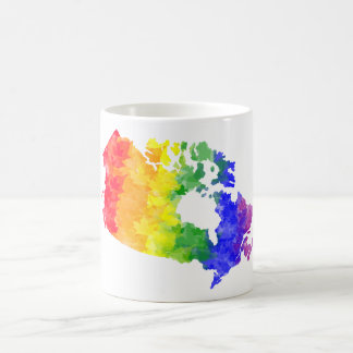 Canada Maple Leaf Rainbow Pride map mug
