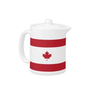Canada Maple Leaf Red Stripe Tea Pot