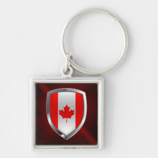 Canada Mettalic Emblem Silver-Colored Square Keychain
