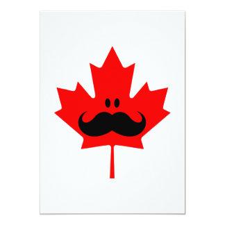 """Canada Mustache - A mustache on red maple 5"""" X 7"""" Invitation Card"""