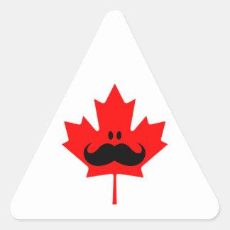 Canada Mustache - A mustache on red maple Triangle Sticker