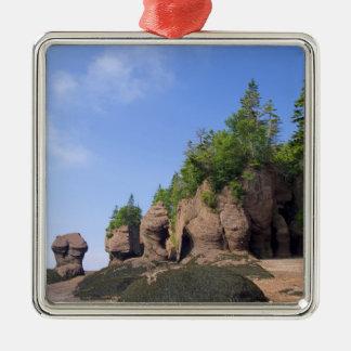 Canada, New Brunswick, Hopewell Cape, Bay of Silver-Colored Square Ornament