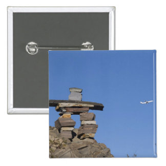 Canada, Newfoundland, St. John's. Inukshuk (to 2 Inch Square Button