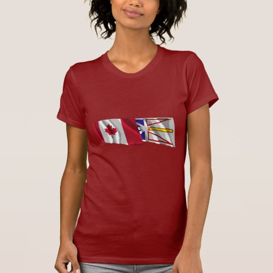 Canada & Newfoundland Waving Flags T-Shirt