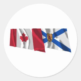 Canada & Nova Scotia Waving Flags Round Stickers