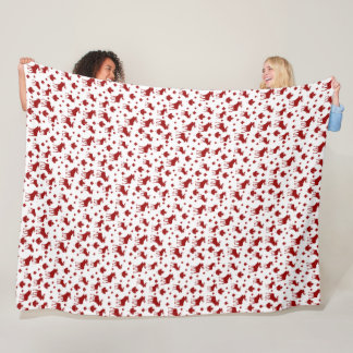 Canada Pattern Maple Leaf and Moose Fleece Blanket