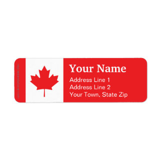 Canada Plain Flag Return Address Label