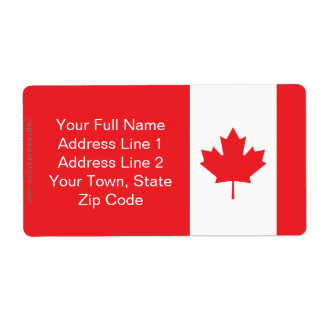 Canada Plain Flag Shipping Label