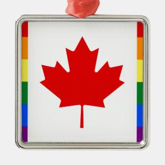 Canada Pride Rainbow Flag Silver-Colored Square Ornament