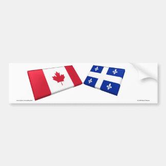 Canada & Quebec Flag Tiles Bumper Sticker