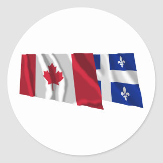 Canada & Quebec Waving Flags Round Stickers