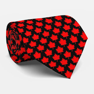 Canada Red Maple Leaf Black Tie