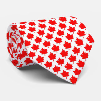 Canada Red Maple Leaf White Tie
